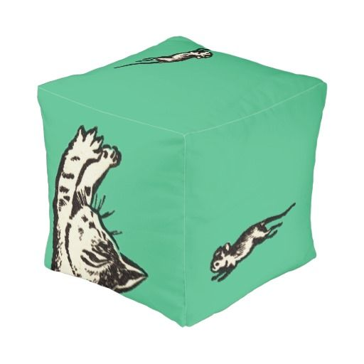 """If you play with cats, expect to be scratched"" Cube Pouf - $89.95 Made by Manual WW / Design: Fluxionist"
