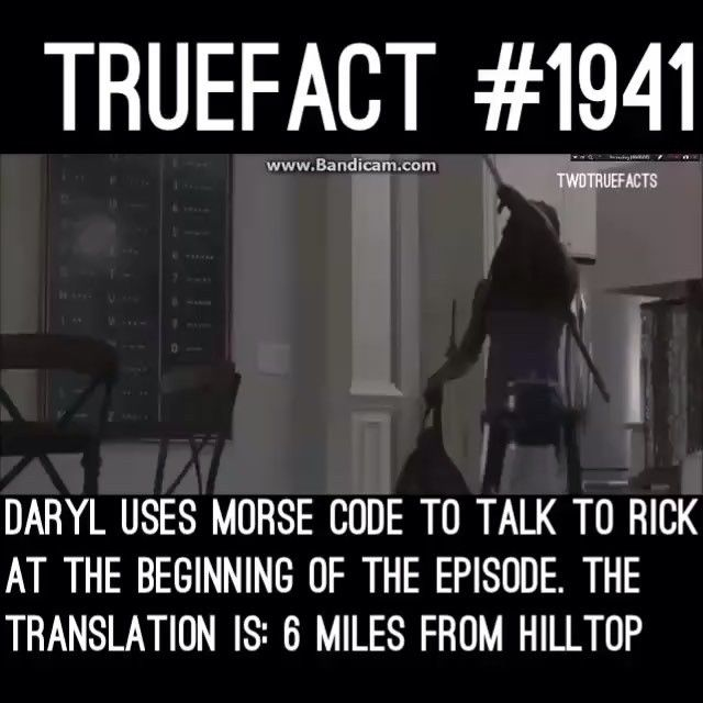 MorseCode Translation: 6 Miles From Hilltop! Spread the word ! REPOST this fact!! #morsecode #WalkingDead #thewalkingdead #TWD the Sanctuary is 6 miles away from the hilltop!
