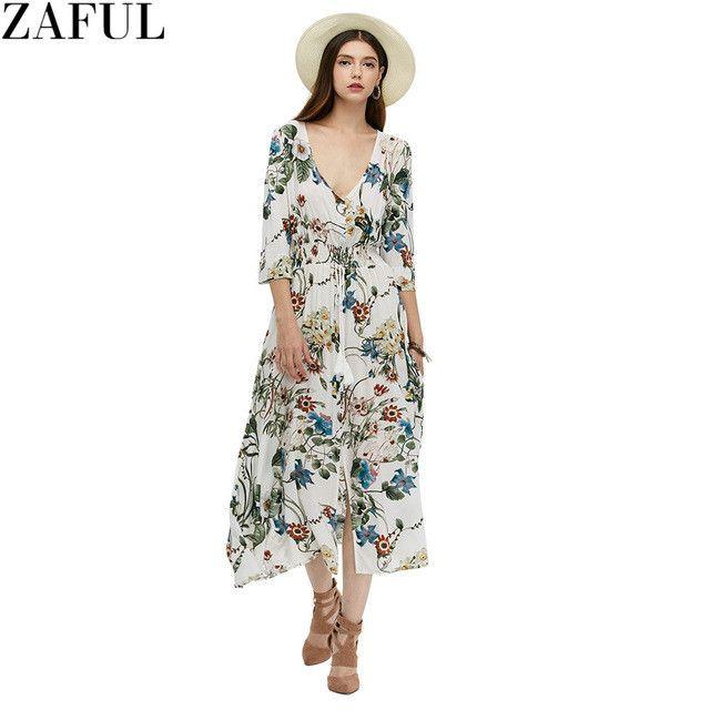 ZAFUL Vintage Women Autumn Dress V-Neck 3/4 Sleeve Mid-Calf Floral Print Button Type Long Dresses