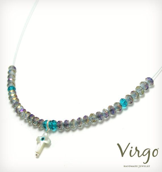 Handmade Ivory Cross Crystal Beads and Silver 925 Clasp Necklace.  Size: approx. 40cm  We can resize for you, all of our jewelries, so feel free to ask!  Τhe necklace comes in a gift box!  Do you like this item? See more at: https://www.etsy.com/shop/VirgoHandmadeJewelry  Like us on Facebook:  https://www.facebook.com/VirgoHandmadeJewelry  or   follow us on Pinterest: www.pinterest.com/VirgoJewelry   Thanks for stopping by - Virginia