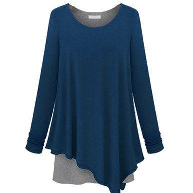 Women Scoop Neck Knit Tunics with Unbalanced Hem Line Dress Top ...