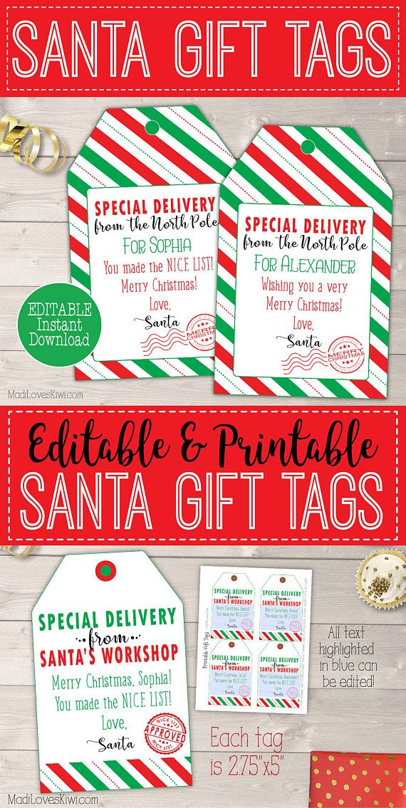 The 25 best from santa gift tags ideas on pinterest santa gift madiloveskiwi personalized christmas gift tags printable santa gift tags personalized santa negle Choice Image
