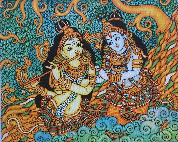 Radha krishna kerala murals paintings prints for Mural radha krishna
