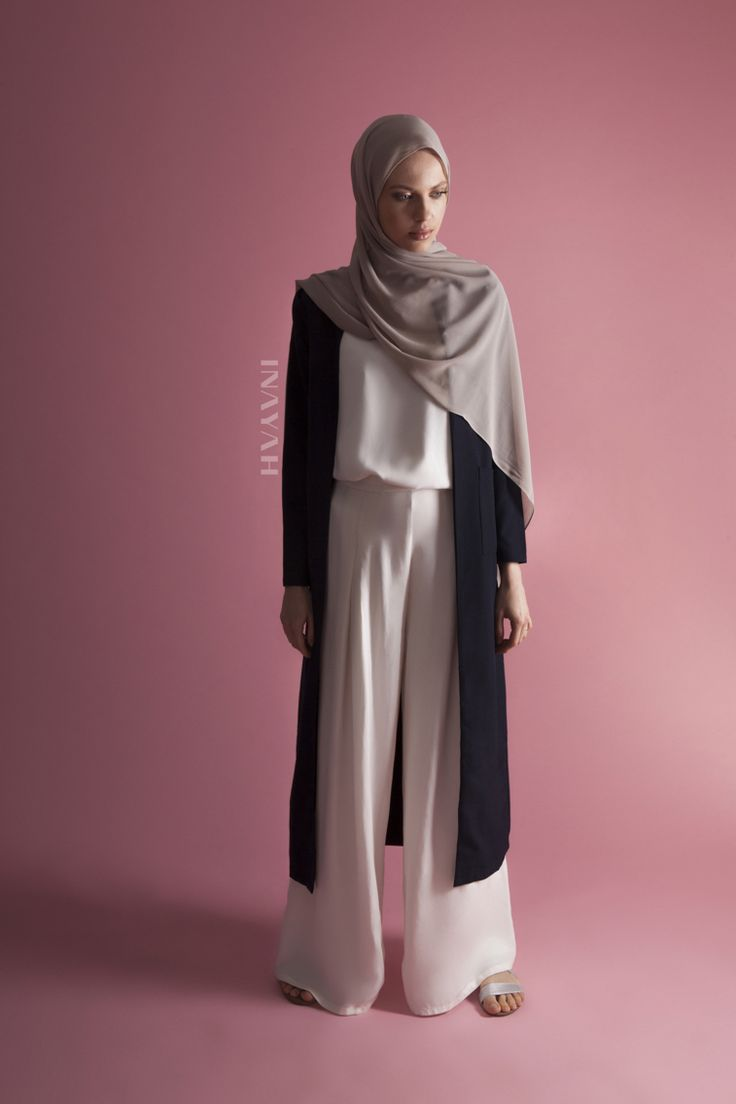INAYAH | Classic and understated styling: Navy Maxi #Coat with Pockets White Crepe #Top White Front Pleat #Palazzos www.inayah.co