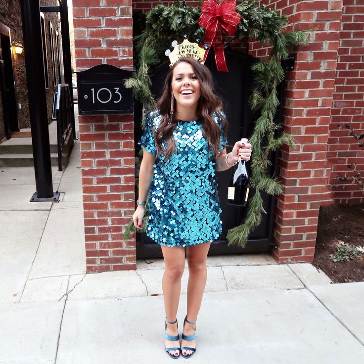 Blue Sequin Dress+blue strappy heeled sandals+long earrings. New Year's Eve Outfit 2017-2018 #heeledsandalsoutfit