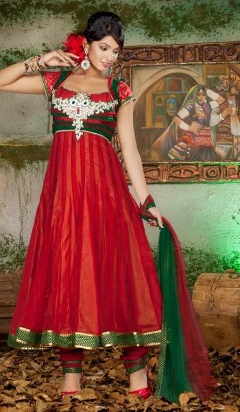 Red Green Net Designer Indian Fashion Salwar Kameez