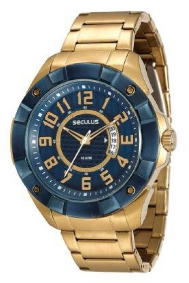20333GPSVLA1 Relógio Masculino Dourado Seculus Action   Guest Club