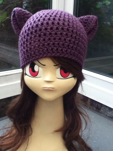 2c0f22f2f5b HAND CROCHETED KITTY CAT CUTE COSPLAY EARS BEANIE HAT GOTH EMO - Purple