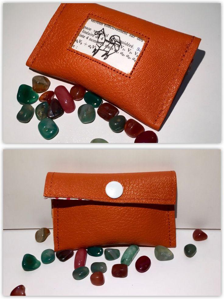 Pochette cuir orange - Origami chien : Etuis, mini sacs par la-nabelle
