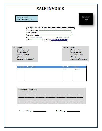 Sales Invoice Template 6+ Printable Word, Excel and PDF Formats