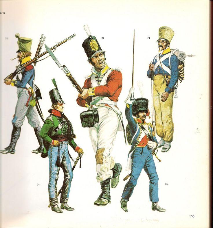 """Granatiere del rgt. di fanteria """"Graf und Erbprinz"""" dell'Assia Darmstadt, fuciliere del 88 rgt. fanteria inglese, volteggiatore del 16 rgt. fanteria francese, ufficiale del 5/60 rgt. fanteria inglese """"Royal American"""" e tamburo maggiore del 65 rgt. fanteria di linea francese"""