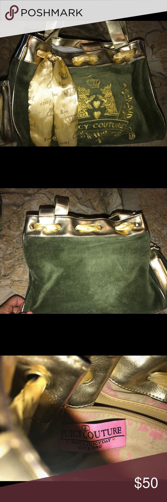 JUICY COUTURE Handbag!!  Gold and olive green JUICY COUTURE handbag.  Great condition.  Juicy Couture Bags Shoulder Bags