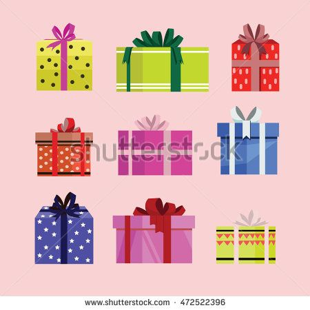 gift box birthday set present with different pattern. vector illustration 107