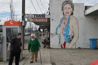Hillary Clinton swimsuit mural in West Footscray Melbourne