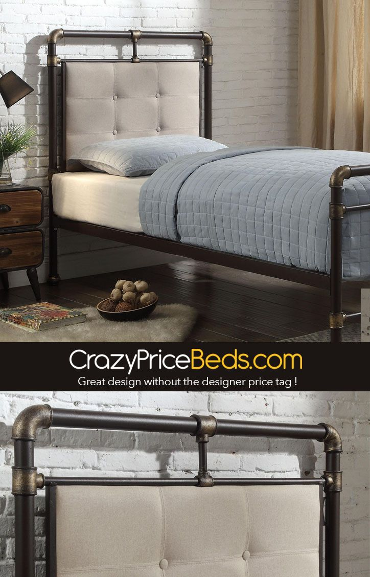 Oxford Industrial Scaffold Brown Metal Fabric Bed Frame Double