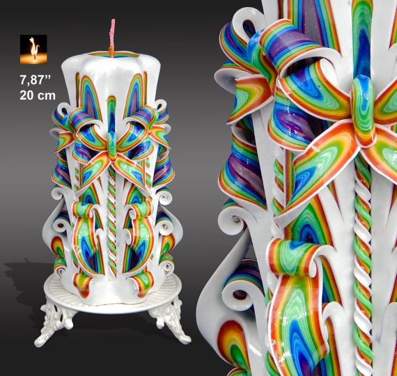 Mother's day gift, gift for mom, Carved Candle, Large candle, Rainbow candle, READY TO SHIP