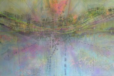 Autobahn // katharyna ulriksen 2009 mixed media on canvas#painting #art #maps #cities #senseofplace #nonplace #travel #transit #temporary #locations