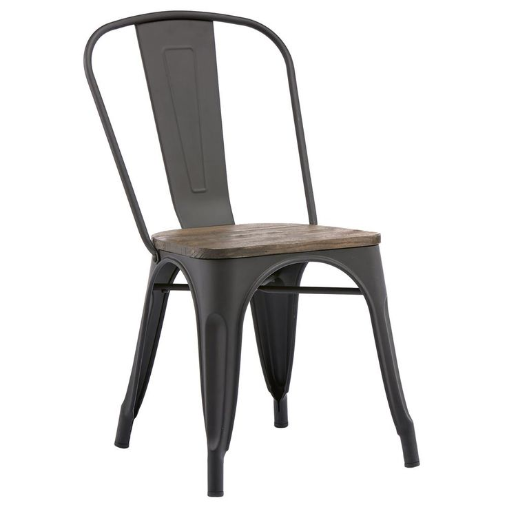 Rustic Wood and Metal Dining Chair