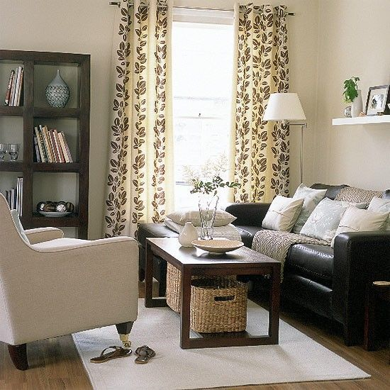 Apartment Furniture Ideas Pictures: Living Room Design Coastal With Brown Leather Sofas