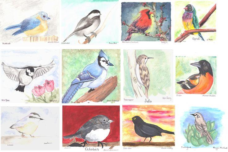 2016 Calendar pages.  Greensboro Day School Art Club fundraiser.