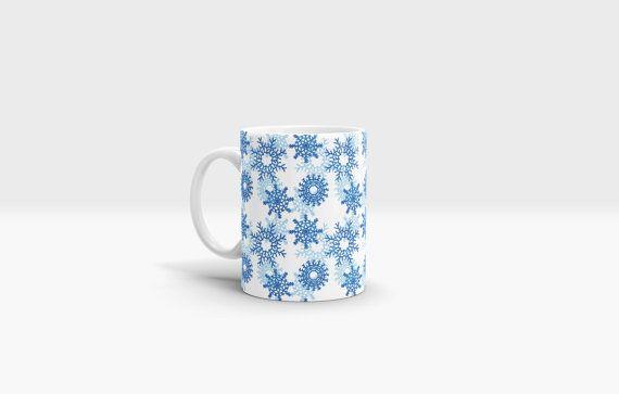 Snowflakes Mug. 11oz Ceramic Mug. by NJsBoutiqueCo on Etsy