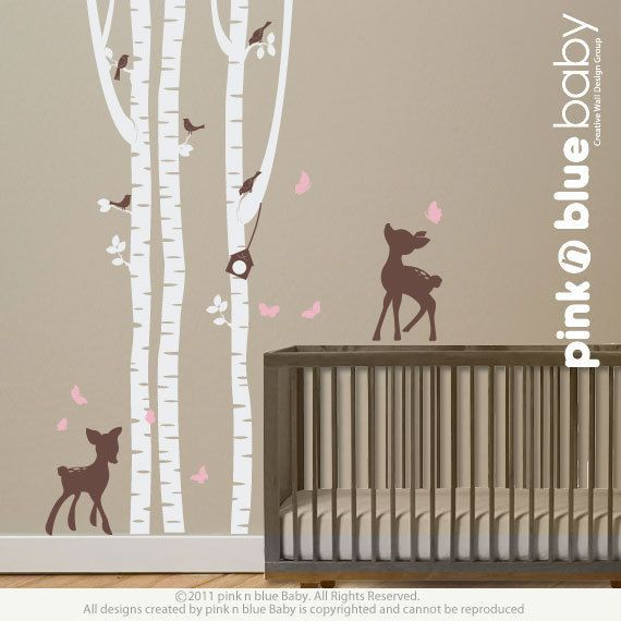 Duvar Çıkartmaları Köpeklerle birlikte huş ağacları Kreş ve duvar yazıları pinknblue ...