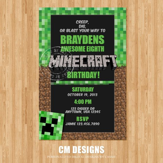 Minecraft Birthday Invitation By Designsbycassiecm On Etsy