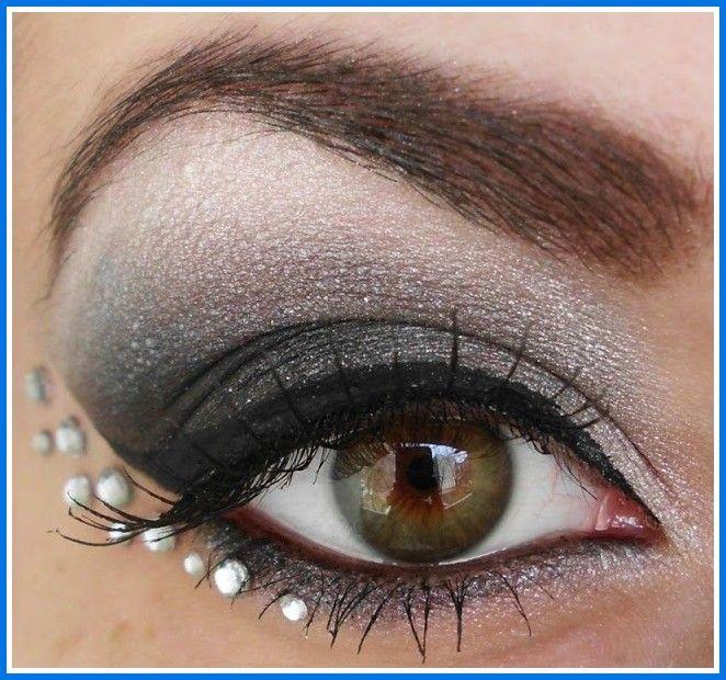 dramatic eye makeup with rhinestones