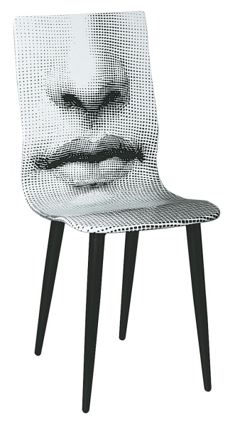 Bocca (mouth) chair, 1971 by Piero Fornasetti (steel, lithographed plywood)