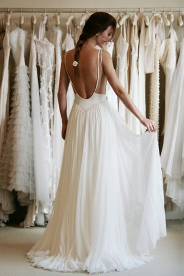 Beach Wedding Dress Backless wedding gown low back bride bridal perfect open