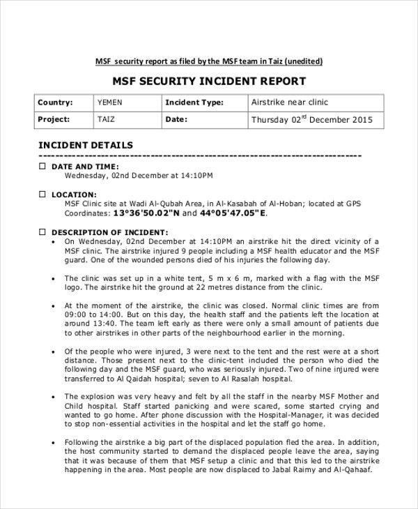 Incident Report Example In 2021 Incident Report Incident Report Form Sample Resume