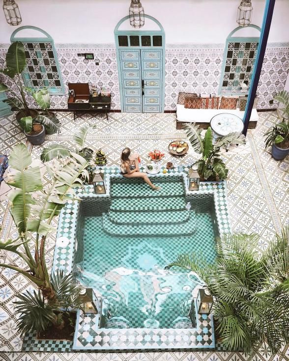 Like a little jewel box of the Riad, this Marrakech boutique hotel is filled with life, color, pattern and texture. And in the heart of it all, a charming courtyard swimming pool with all the relaxation vibes.   Photo Credit: Leonie Hanne