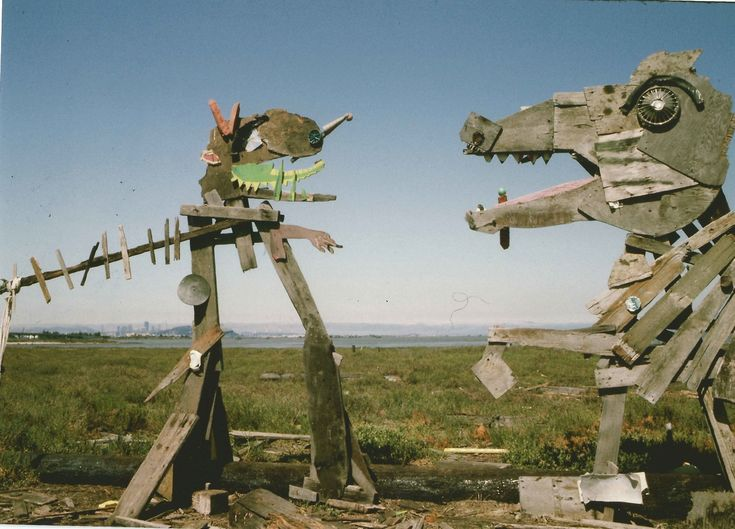 Anonymous artists once created sculptures made from driftwood and trash at the Emeryville Mudflats.