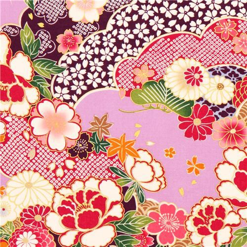Imagem de http://kawaii.kawaii.at/img/lilac-Kokka-Japanese-flower-fabric-with-gold-179985-1.JPG.