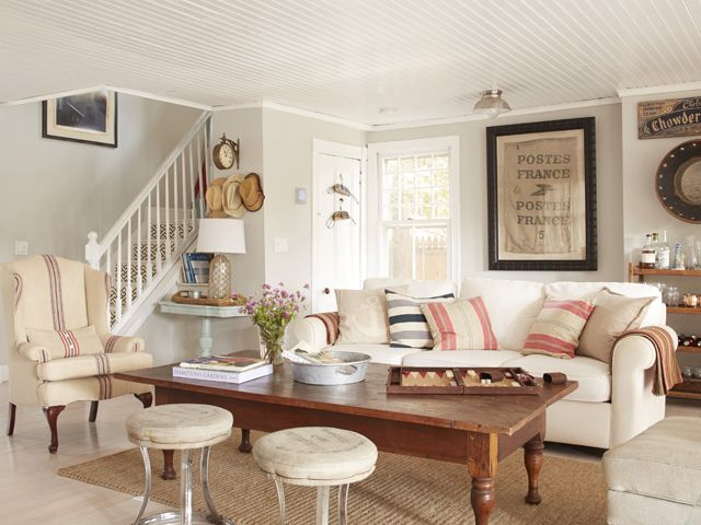 A Coastal Cottage Makeover Gray WallsLiving Room