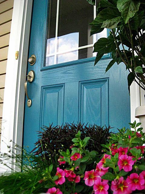 Calypso Blue front door! (Benjamin Moore)