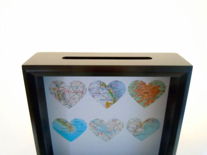 Map Hearts Ticket Holder - Ticket Box  Drop Top Shadow Box  - Ticket Keeper - Customized Gift for Traveler - Anniversary Gift - Travel Theme