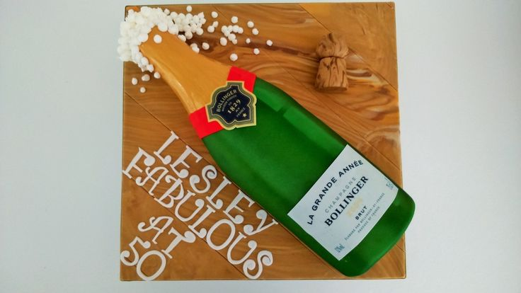 Bollinger Champagne Bottle Cake with cork and bubbles by www.larasthemecakes.co.uk