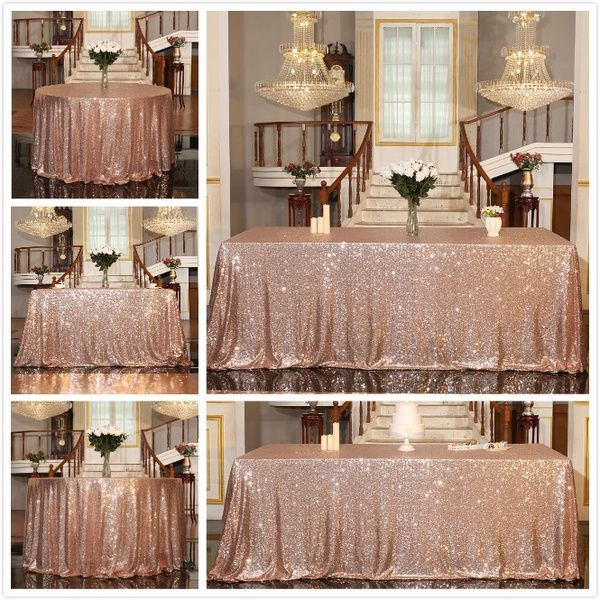 Sequin Tablecloth Sparkle Rose Gold Sequin Table Cover Linens Overlay Runners For Wedding Birthday Party Baby Shower Banquet Home Decoration Glitter Round Squar In 2020 Sequin Tablecloth Glitter Table Cloths Sequin Table
