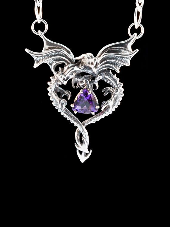 Dragon Necklace Silver Dragon Heart Pendant with Amethyst - Double Dragon Necklace - Silver Dragon - Dragon Jewelry Valentines Day Gift