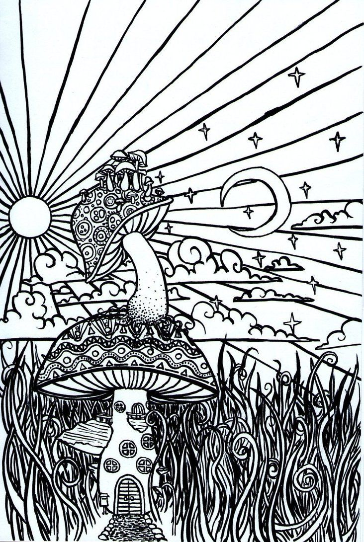 Psychedelic mushroom coloring pages just colorings for Printable psychedelic coloring pages