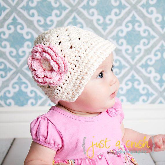 Baby Girl Hat, Crochet Baby Hat, Crochet Visor Beanie Hat, Cream and Pink, MADE TO ORDER. $24.00, via Etsy.