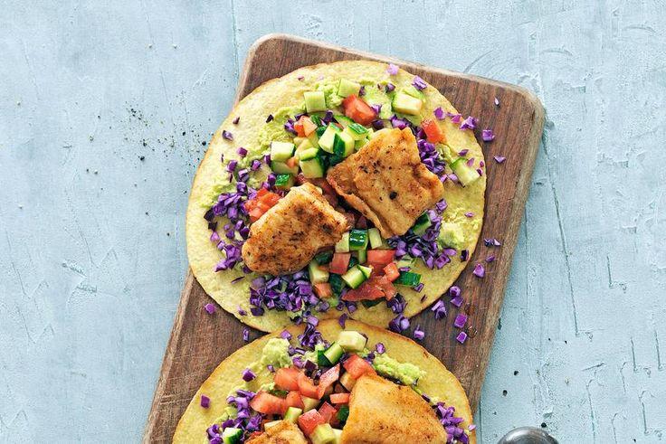 Mexicaanse tostada's met gebakken vis & avocado - Recept - Allerhande