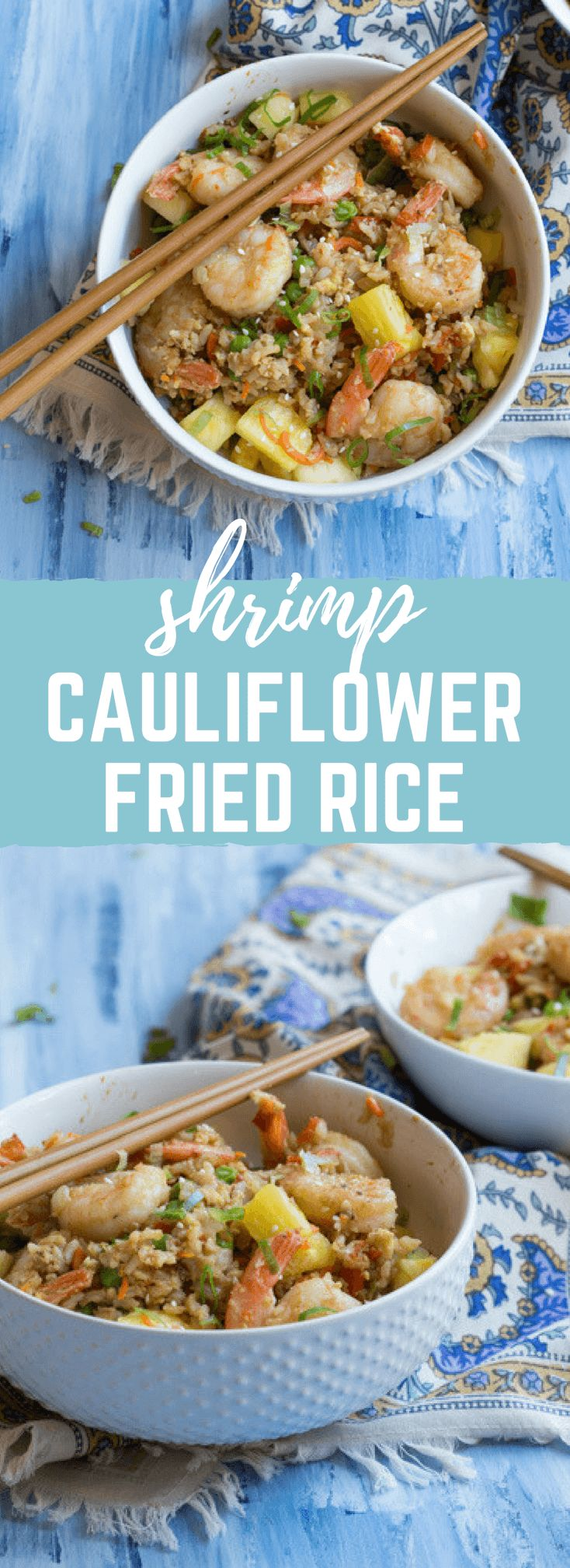 "This Shrimp Cauliflower Rried Rice is ready in just 25 minutes! This is the perfect dish for a quick, need it in a hurry Monday through Friday meal or just as a healthier alternative to the standard cozy ""take out and a movie"" meal."
