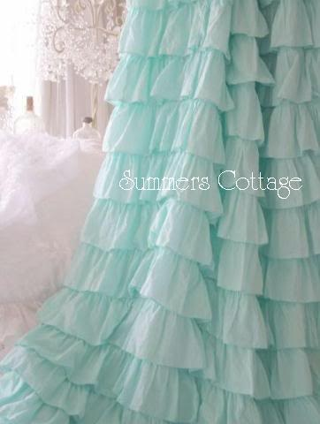 Ruffle curtains for Leona's Room! Would be so cute to use the panels she has and make thick white and lavender ruffle curtains. to tie back