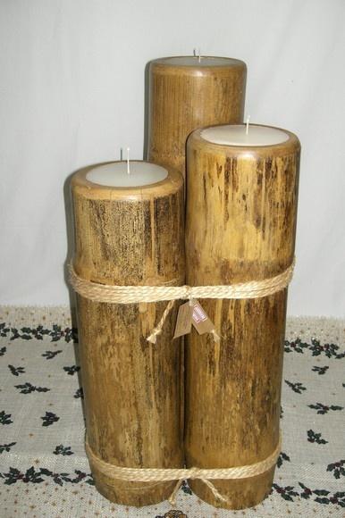 Trio de vela em bambu grande rajado. Lindo para decorar ambientes. Fazemos  na cor desejada. Qualquer duvida entrar em contato. Aceitamos encomendas. alt. = 80,90,100 diam.: média 18 cm R$350,00