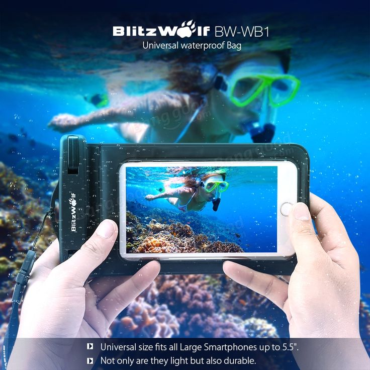 BlitzWolf® BW-WB1 Universal Touch Screen IPX8 Waterproof Case Dry Bag Waterproof Bag With Clip For iPhone 6/Plus,Samsung Galaxy S5/S4,LG,G3,HTC and GPS Device,Holds All Up To 6.0 Inch Smartphones Sale - Banggood.com