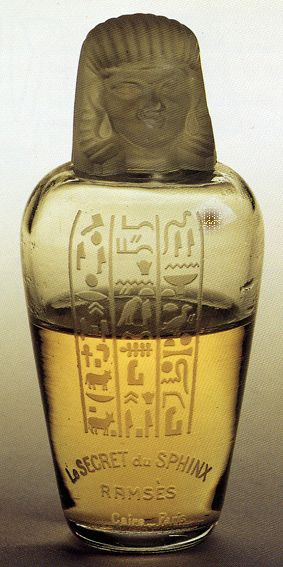 'Le SECRET du SPHINX' Perfume by RAMSES, bottle made by Baccarat glass, form of an Egyptian canopic jar, 1917, Egyptian Revival