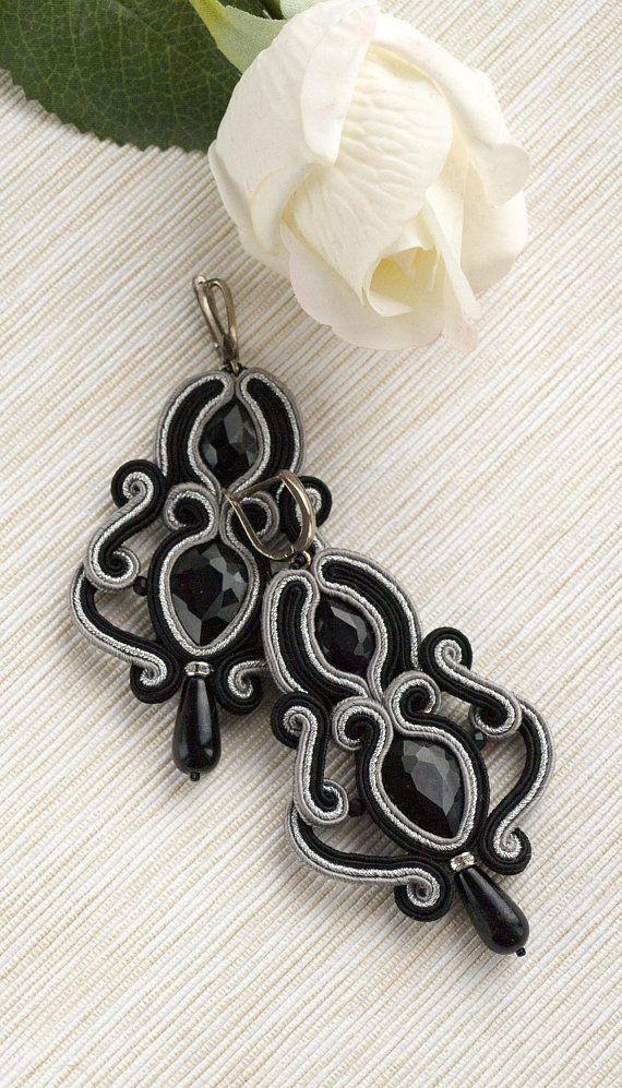Crystal earrings black silver earrings soutache earrings