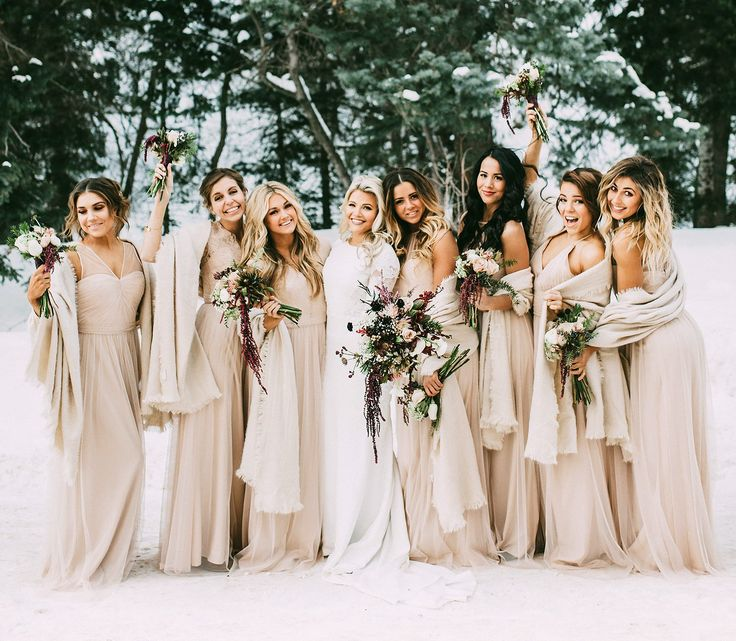 Witney Carson and her bridesmaids in champagne gowns